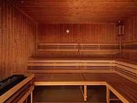 Z apartmánů je kousek do finské sauny v hotelu Říčky. -