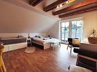 Apartmán v podkroví - Ložnice s manželskou postelí a rozkládací postelí - pronájem Říčky v Orlických horách