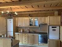 Kuchyň s myčkou a lednicí - srub k pronájmu Těchonín - Celné