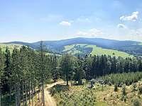 Výhled z rozhledny na Feistově kopci - směr Panský vrch, Vrchmezí - Olešnice v Orlických horách