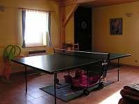 herna - pinpog. stůl, šipky, odstrkovadla, houpačka, kuchyňka ... - chalupa k pronajmutí Rampuše