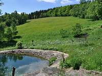 Na pozemek chalupy navazuje krásná horská louka, na které se často pasou laně