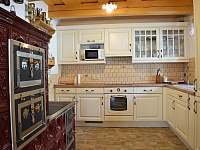 kuchyň - varná deska, trouba, lednice, myčka, mikrovlnka ad. - pronájem chalupy Ohnišov