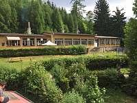 hlavní budova s kuchyní,jídelnou a koupelnami