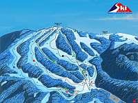 Mapa skiareálu Říčky v Orlických horách (20 min od chalupy) - zdroj: SkiRicky