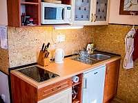 kuchyňka dolního apartmánu - ubytování Přibyslav