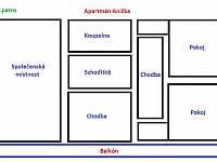 Rozkreslení ap. Anička - pronájem chalupy Dolní Morava