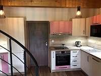 Prostorná kuchyň s veškerým vybavením a vestavěnými spotřebiči - pronájem apartmánu Říčky v Orlických horách