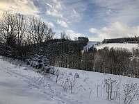 Zimní pohled z terasy apartmánu - Říčky v Orlických horách
