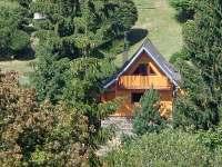 Pohled na chatu ze sjezdovky