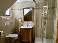 Koupelna v patře - pronájem chalupy Králíky