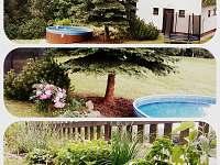 Bazén, trampolína a bylinková zahrádka.