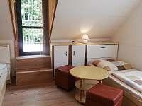 patro pokoj č. 2 - dvoulůžková ložnice se vstupem na zadní terasu - chata k pronajmutí Bušín