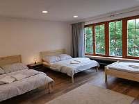 velká ložnice po pravé straně apartmá - pronájem chalupy Říčky v Orlických horách