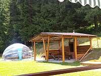 Chata Orlík - venkovní posezení s bazénem