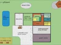 schéma jednotlivých místností v přízemí