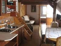 Kuchyně s jídelnou a obývací pokoj - chalupa k pronajmutí Jamné nad Orlicí