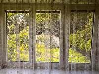 první pokoj - výhled do zeleně zahrady - pronájem chalupy Mladeč