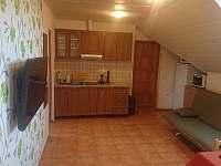 Spoločenska miestnosť s TV a kuchynkou v apartmáne
