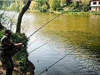 Rybolov před chatou - k pronajmutí Sázava