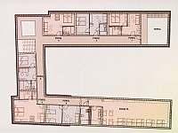 plánek prvního patra nového stavení - pronájem chalupy Hojšín
