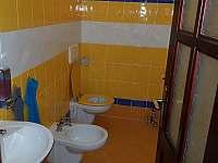 spodní toaleta v domě - chalupa k pronajmutí Třebestovice