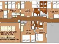 Plán penzionu - apartmán k pronájmu Počepice