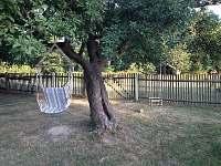 Houpačky pod jabloní na zahradě