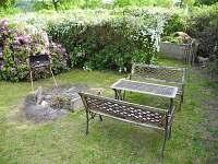 Ohniště/gril, vzadu kompost a záhonek s bylinkami.