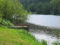břeh řeky s loďkou