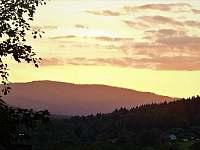 západ slunce z terasy - chata ubytování Lipno - Hůrka