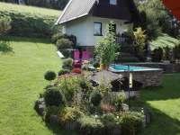 ..... pohled ze sauny na chatu ... - ubytování Podmokly u Sušice