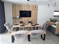 obývací část s detailem na jídelní stůl - apartmán k pronajmutí Nová Pec