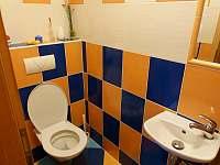 Samostatné WC u bočního vchodu a společenské místnosti - chalupa k pronajmutí Žďár u Nalžovských Hor
