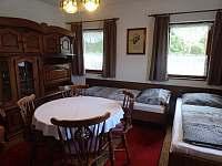 Obývací pokoj s krbem - pronájem chaty Annín