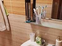 Umyvadlo v koupelně - apartmán ubytování Hojsova Stráž