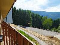 Výhled z balkonu - apartmán k pronájmu Hojsova Stráž