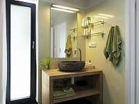 Koupelna, kamenné umyvadlo - chalupa k pronájmu Lipno nad Vltavou - Slupečná