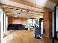 obývací prostor s kuchyní a krbovými kamny - pronájem chalupy Lipno nad Vltavou - Slupečná