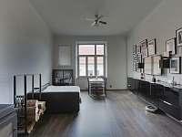 Prostorný obývák s krbem a rozkládacím pohovkou pro dvě osoby - pronájem apartmánu Sušice