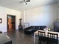 Prostorný obývák s krbem - apartmán k pronájmu Sušice