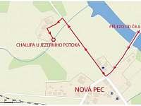 Tak teď k nám dojedete i poslepu - mapa s příjezdem přes Lipno do obce Nová Pec -
