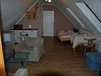 obývák s kuchyňkou a spaním pro 2 osoby