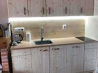 nová kuchyň s myčkou, plně vybavená nádobým na vaření