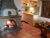 obytná místnost, kuchyňský kout, krb - chata ubytování Nová Pec