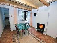 Obývací místnost s krbem a LCD TV