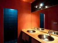 Koupelna - 2 umyvadla, přebalovací pultík, vstup do sprchy.