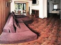 Obývák s krbem a LCD TV - chata ubytování Frymburk