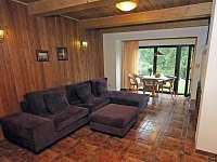 Obývák s posezením u prosklené stěny - chata k pronájmu Frymburk