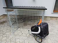 Kotec a vozík za kolo pro domácí mazlíčky